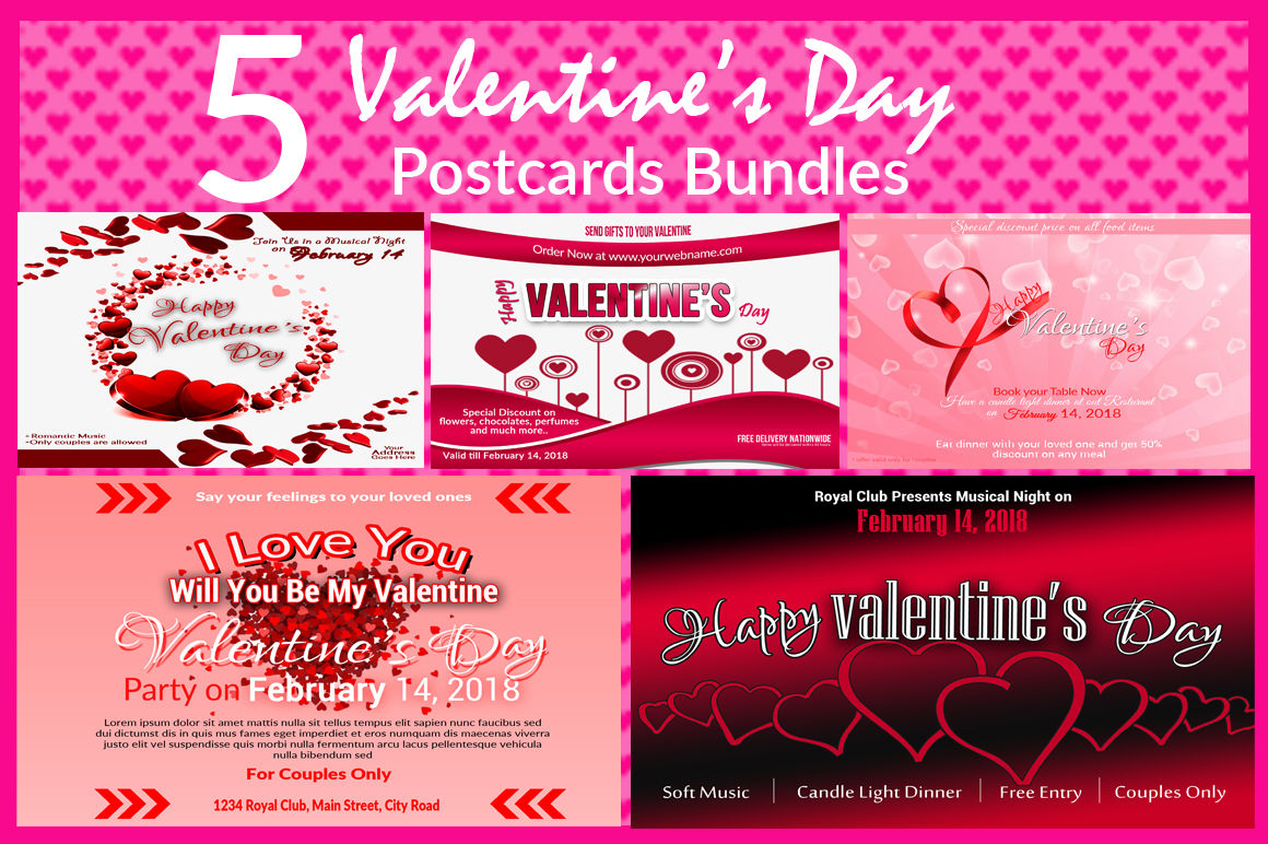 Bundle Of Valentine S Day Postcard Template By Ayme Designs