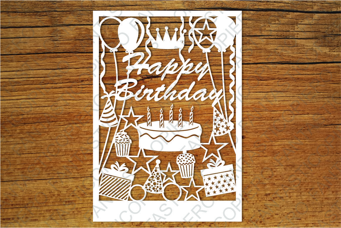 Happy Birthday Card Svg Files For Silhouette Cameo And Cricut By