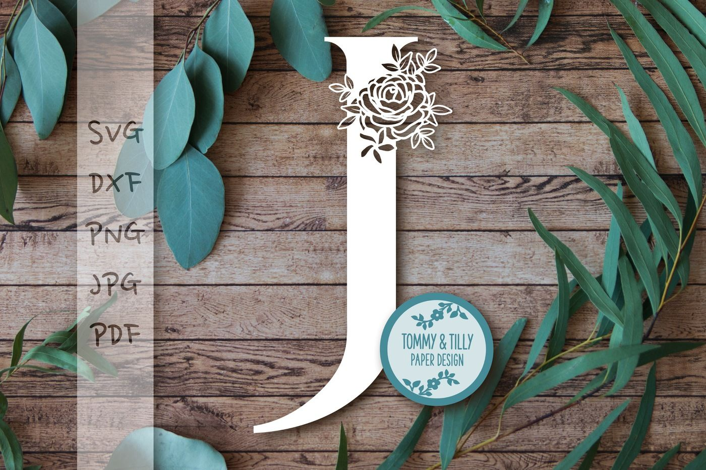 J Floral Letter Svg Dxf Png Jpg Pdf By Tommy And Tilly Design