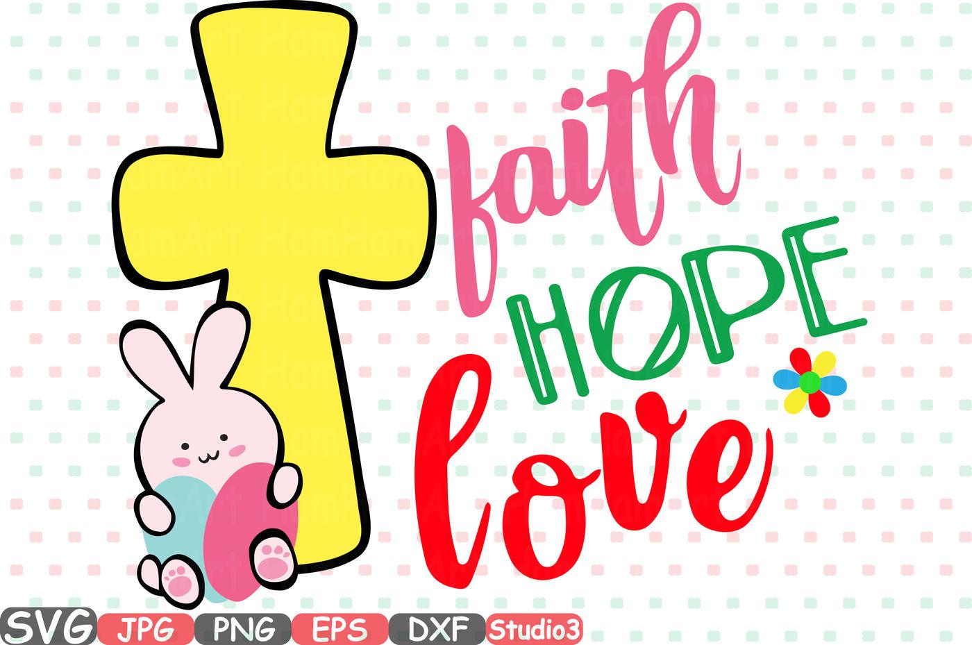Easter Silhouette Svg Faith Hope Love Bunny Cross Eggs 71sv By