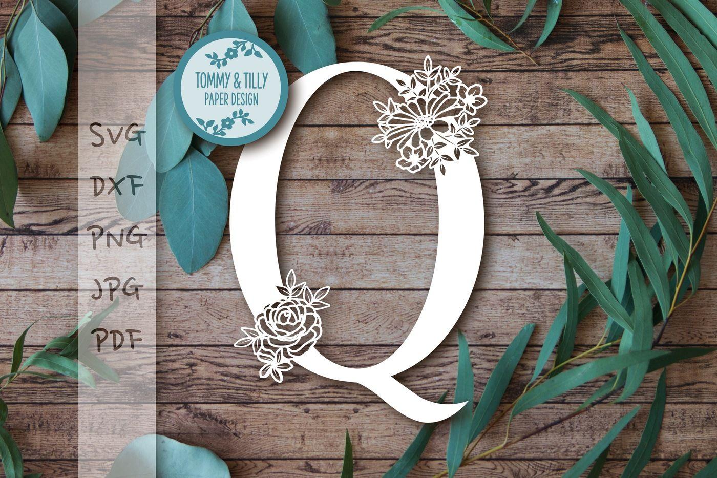Q Floral Letter Svg Dxf Png Pdf Jpg By Tommy And Tilly Design