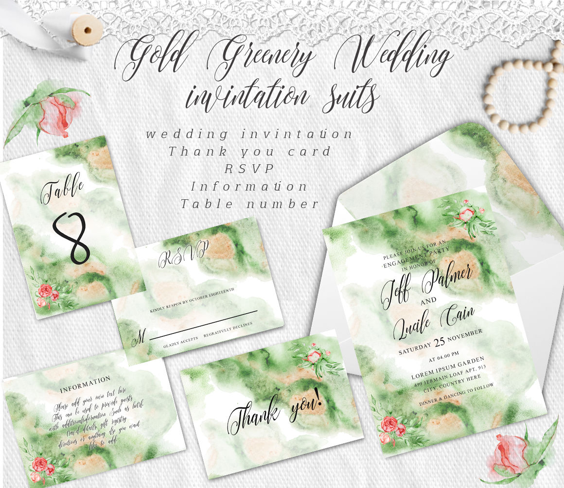 Gold Greenery Floral Watercolor Wedding Invitation Suite By