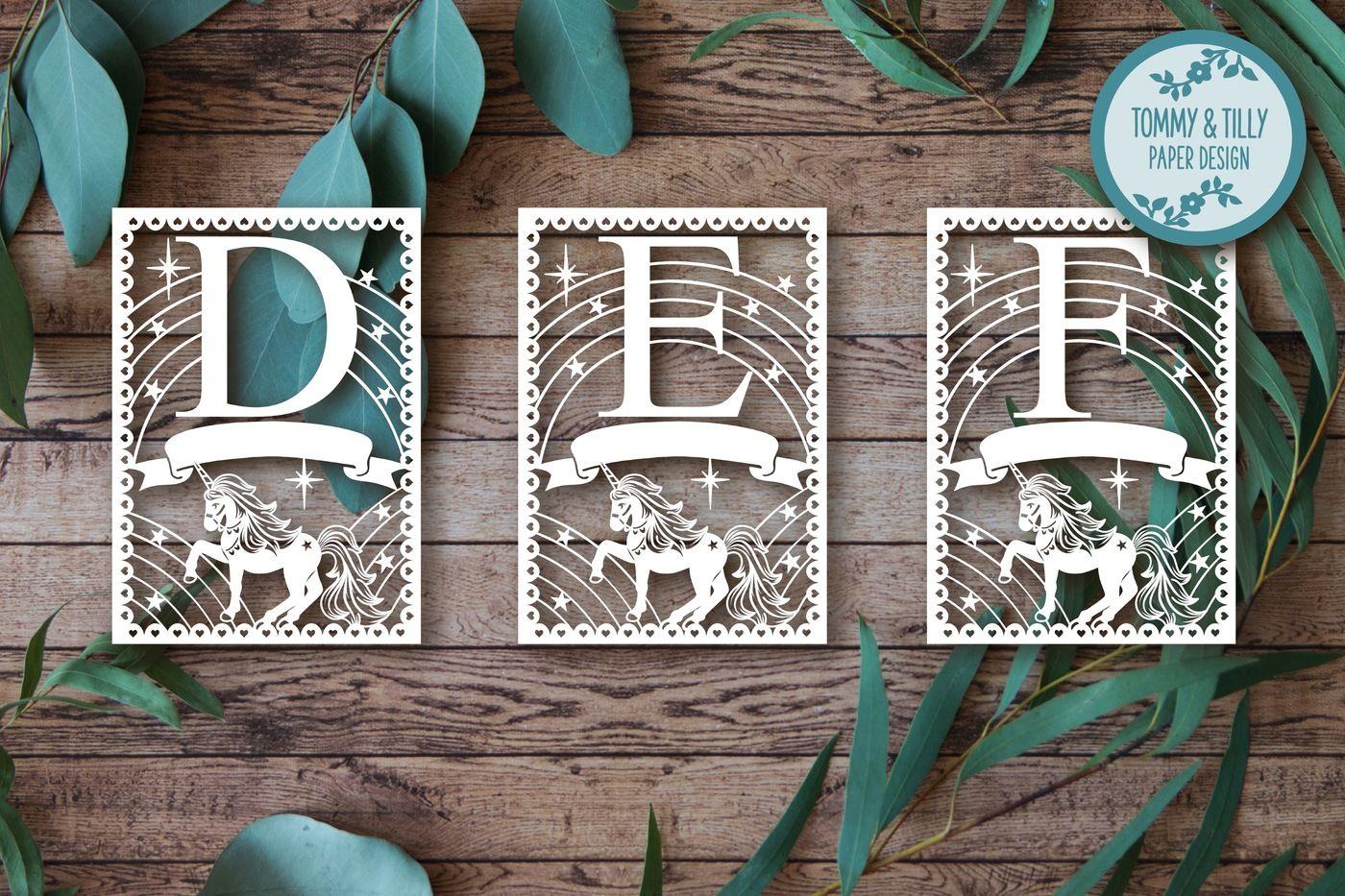 Unicorn Alphabet Bundle 26 Letters Cutting Files Svg Dxf Png Pdf