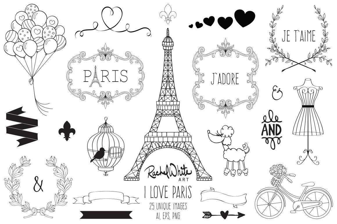 I Love Paris By Rachel White Art Thehungryjpeg Com