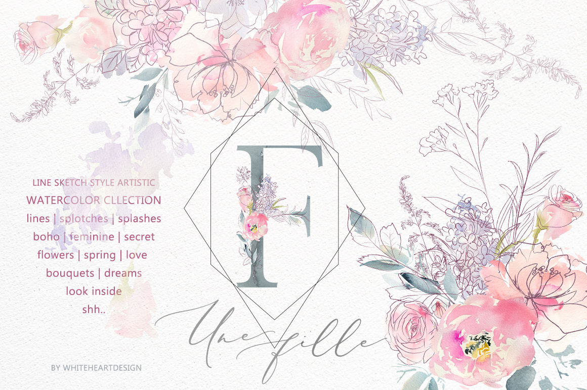 Une Fille Gentle Pink Purple Floral Clipart Collection By Whiteheartdesign Thehungryjpeg Com