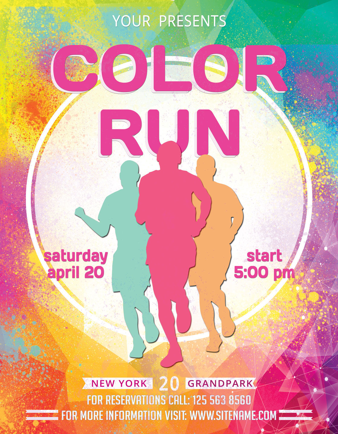 Color Run Flyer And Poster By Artolus Thehungryjpeg Com