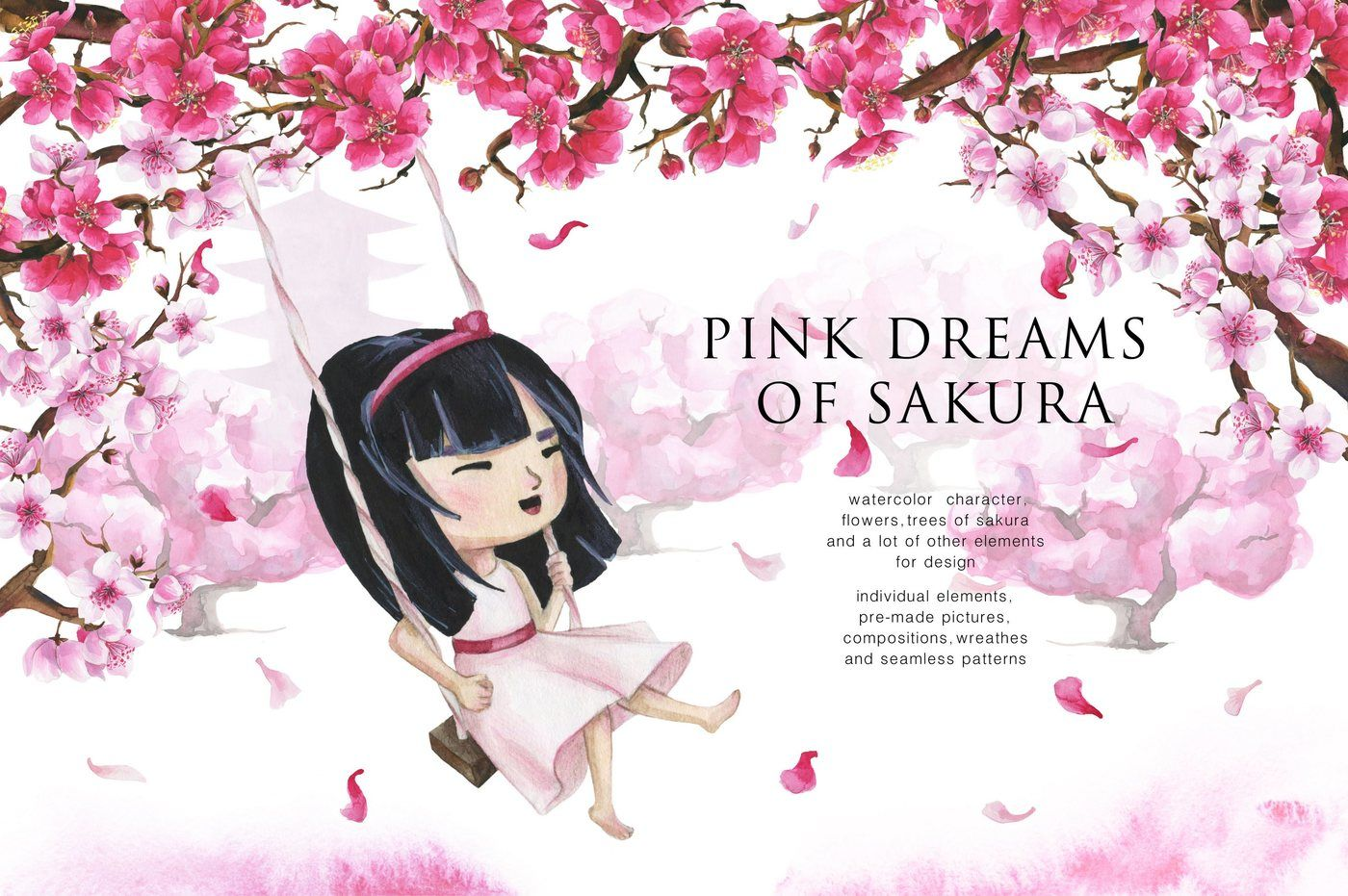 Pink Dreams Of Sakura Watercolor Set By Satika Thehungryjpeg Com