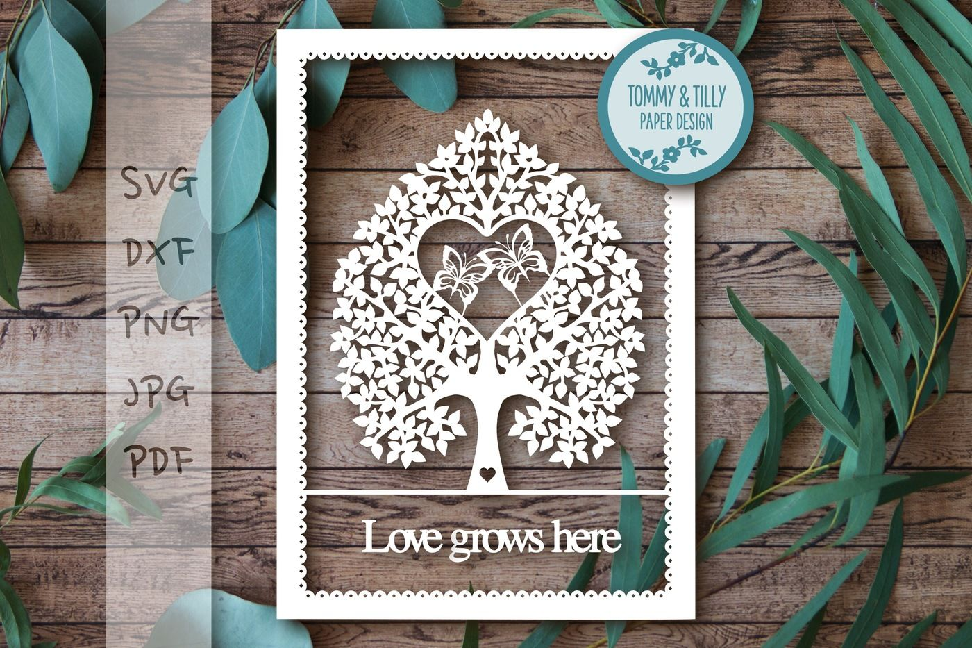 Butterfly Love Tree Svg Dxf Png Pdf Jpg By Tommy And Tilly