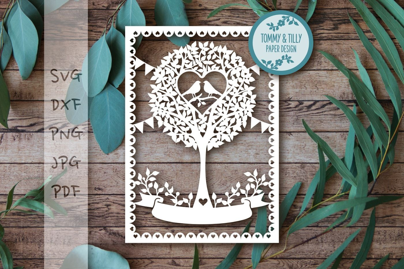 Love Birds Round Tree Svg Dxf Png Pdf Jpg By Tommy And Tilly