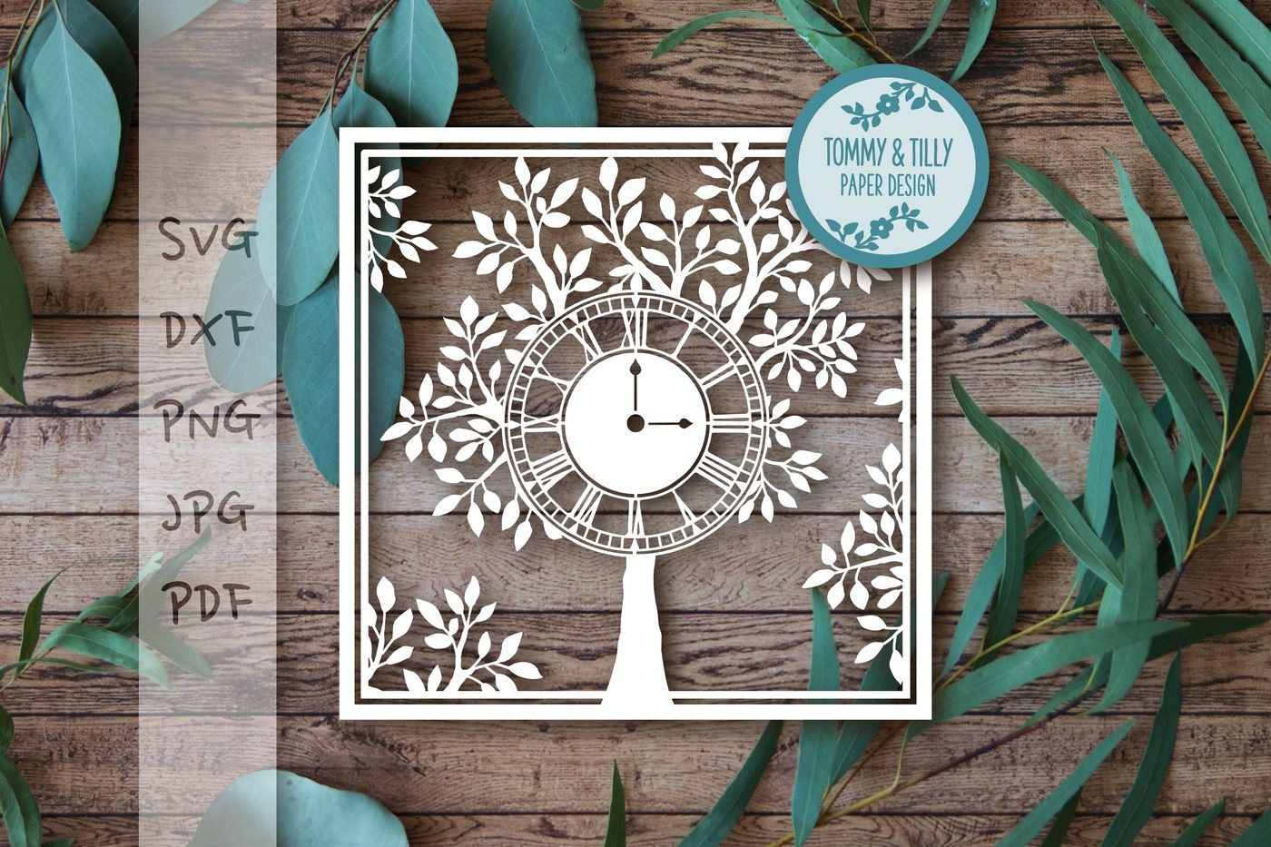 Square Tree Clock - SVG DXF PNG PDF JPG By Tommy and Tilly
