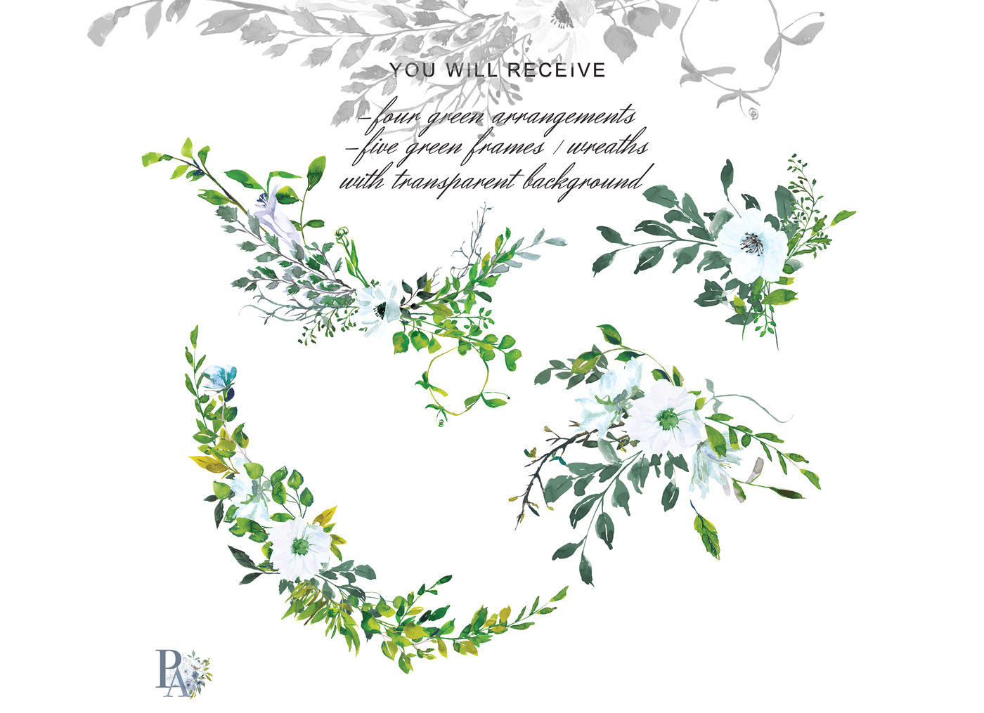 Hand Painted Watercolor Greenery Clipart Greenery Wreath By