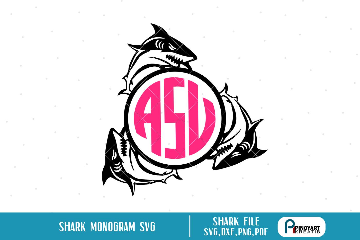 Shark Monogram Svg Shark Svg Shark Svg File Shark Monogram Dxf