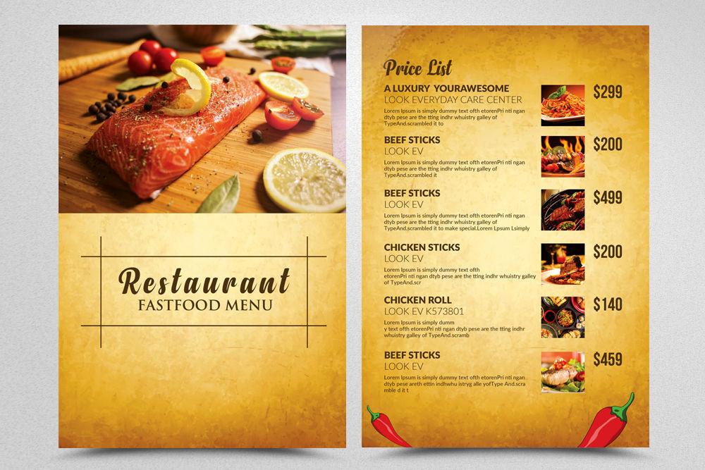 2 Sided Restaurant Menu Templates By Designhub
