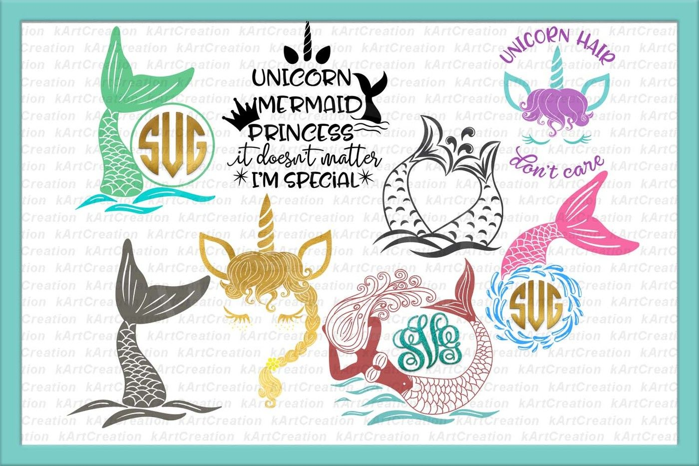 Unicorn Face Svg Mermaid Svg Princess Svg Fairy Svg Unicorn