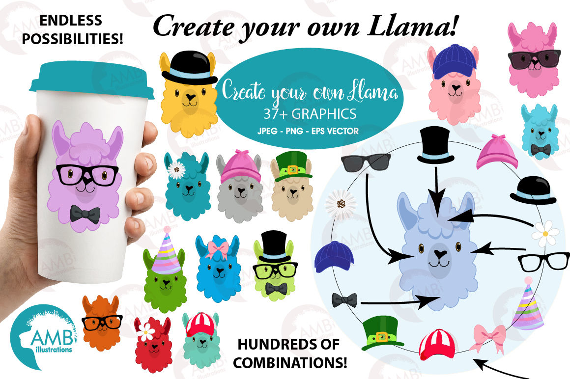 Create Your Own Llama Clipart Graphics Illustrations Amb 2376 By