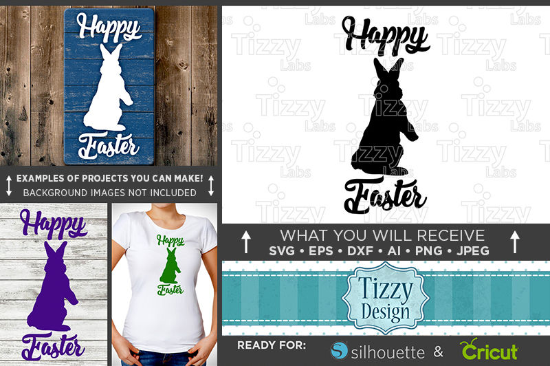 Happy Easter Bunny Silhouette Svg File 4006 By Tizzy Labs