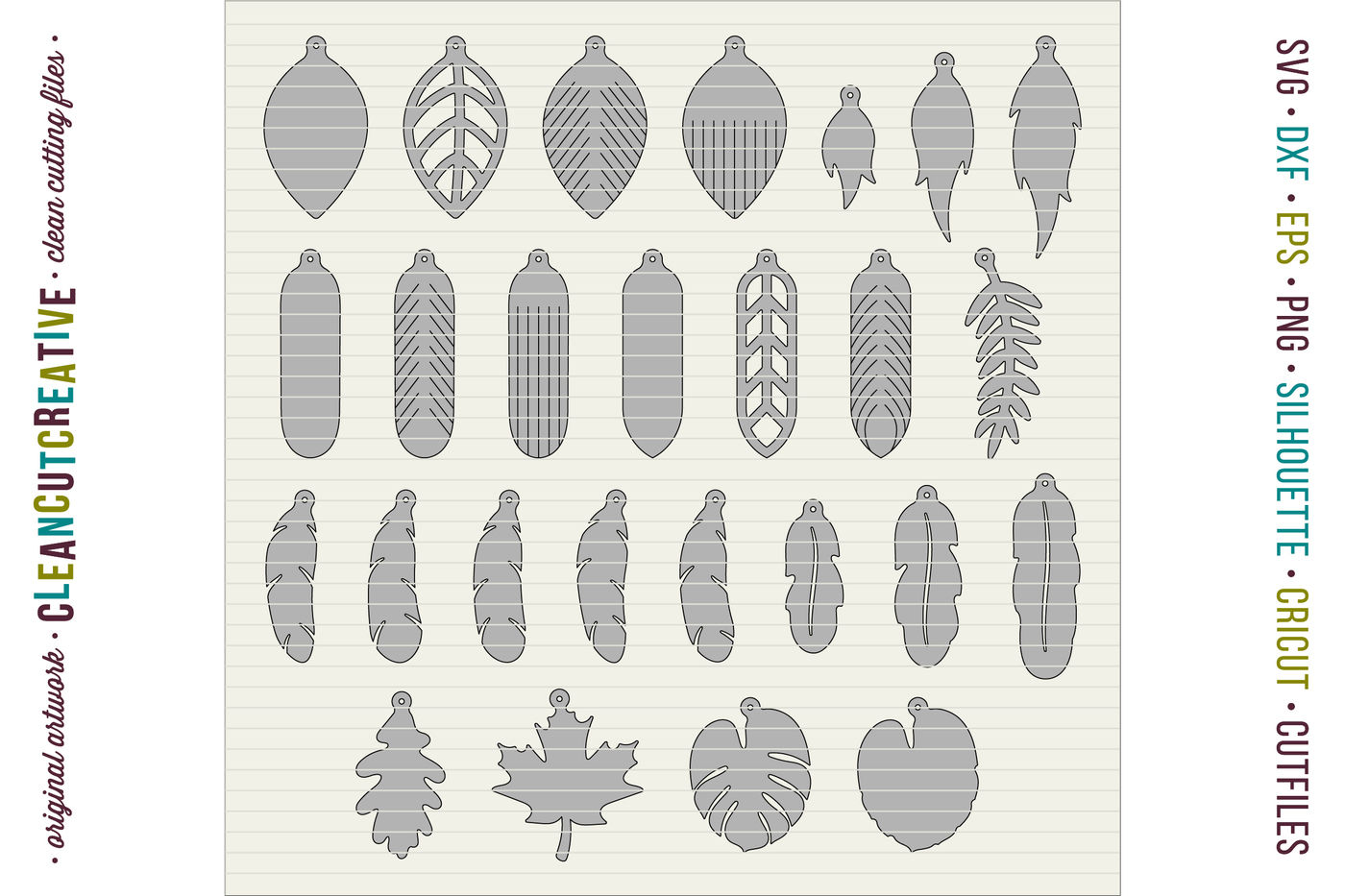 Set Of 26 Faux Leather Earrings Svg Dxf Eps Cricut And