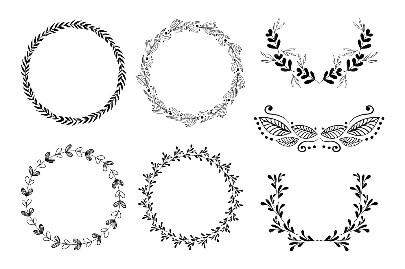 Wreath clipart / Hand drawn black round wedding frames ...