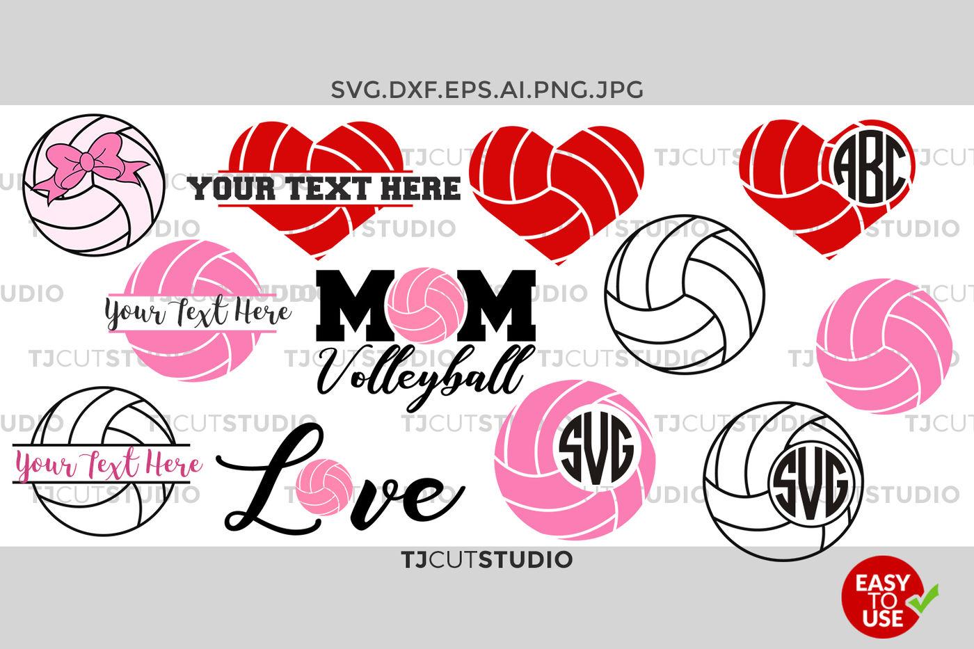 Volleyball Monogram Svg Split Volleyball Love Mom Volleyball