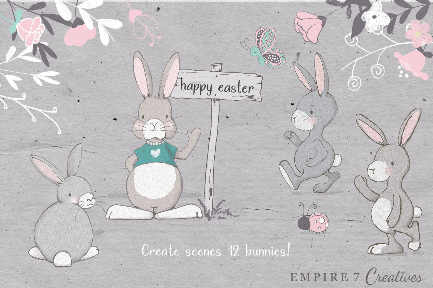 Spring Holiday Bunny Clip Art By Pretty Little Lines ...