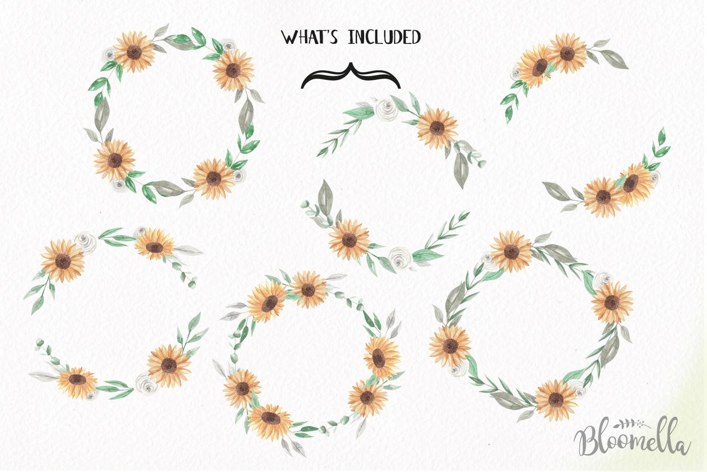 Sunflower Wreaths Flower Garlands Yellow Clipart Wedding ...