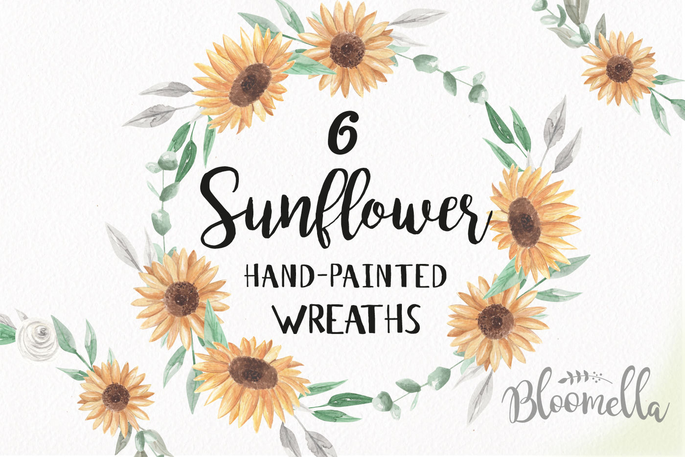 Sunflower Wreaths Flower Garlands Yellow Clipart Wedding ...