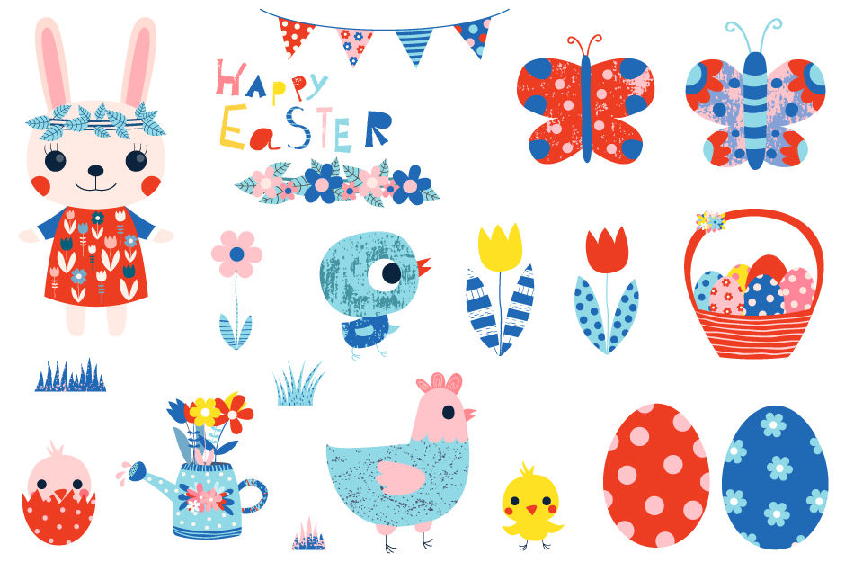 Cute Happy Easter clipart set, Spring clipart, Easter ...