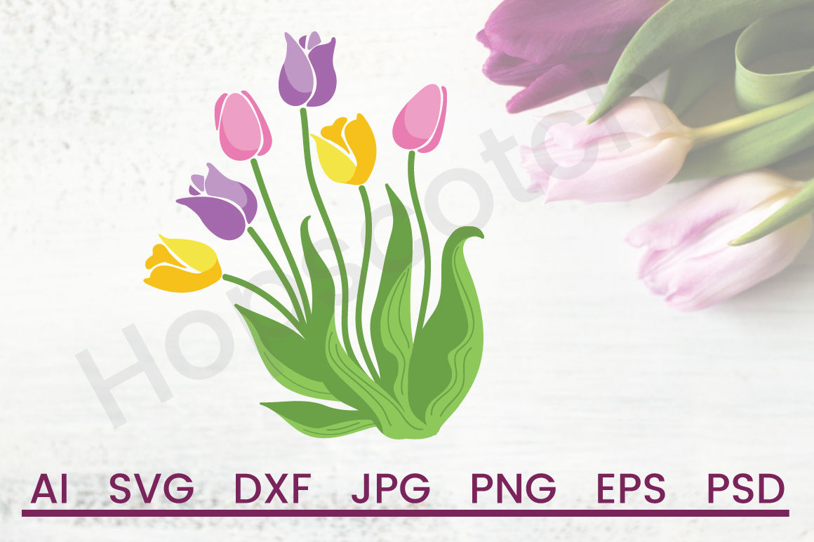 Tulips Svg Flowers Svg Spring Svg Dxf File Cuttable By