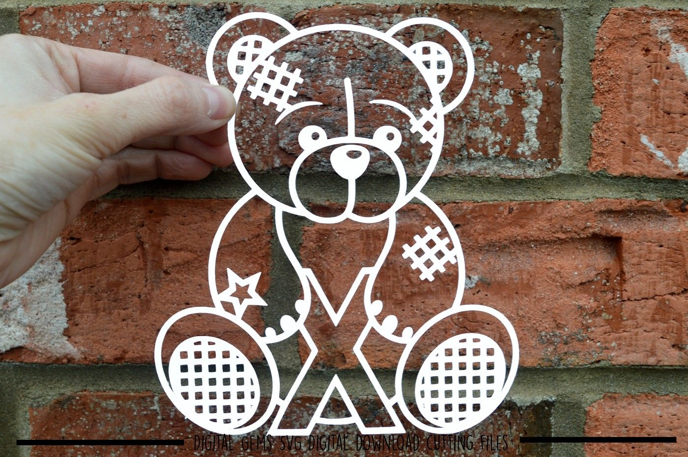 Teddy Bear Letter X Paper Cut Svg Dxf Eps Files By Digital