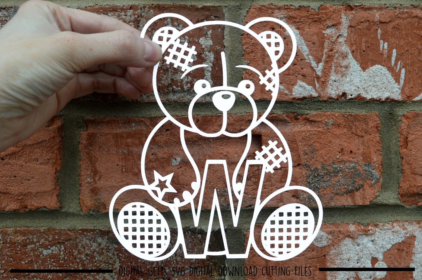 Teddy Bear Letter W Paper Cut Svg Dxf Eps Files By Digital