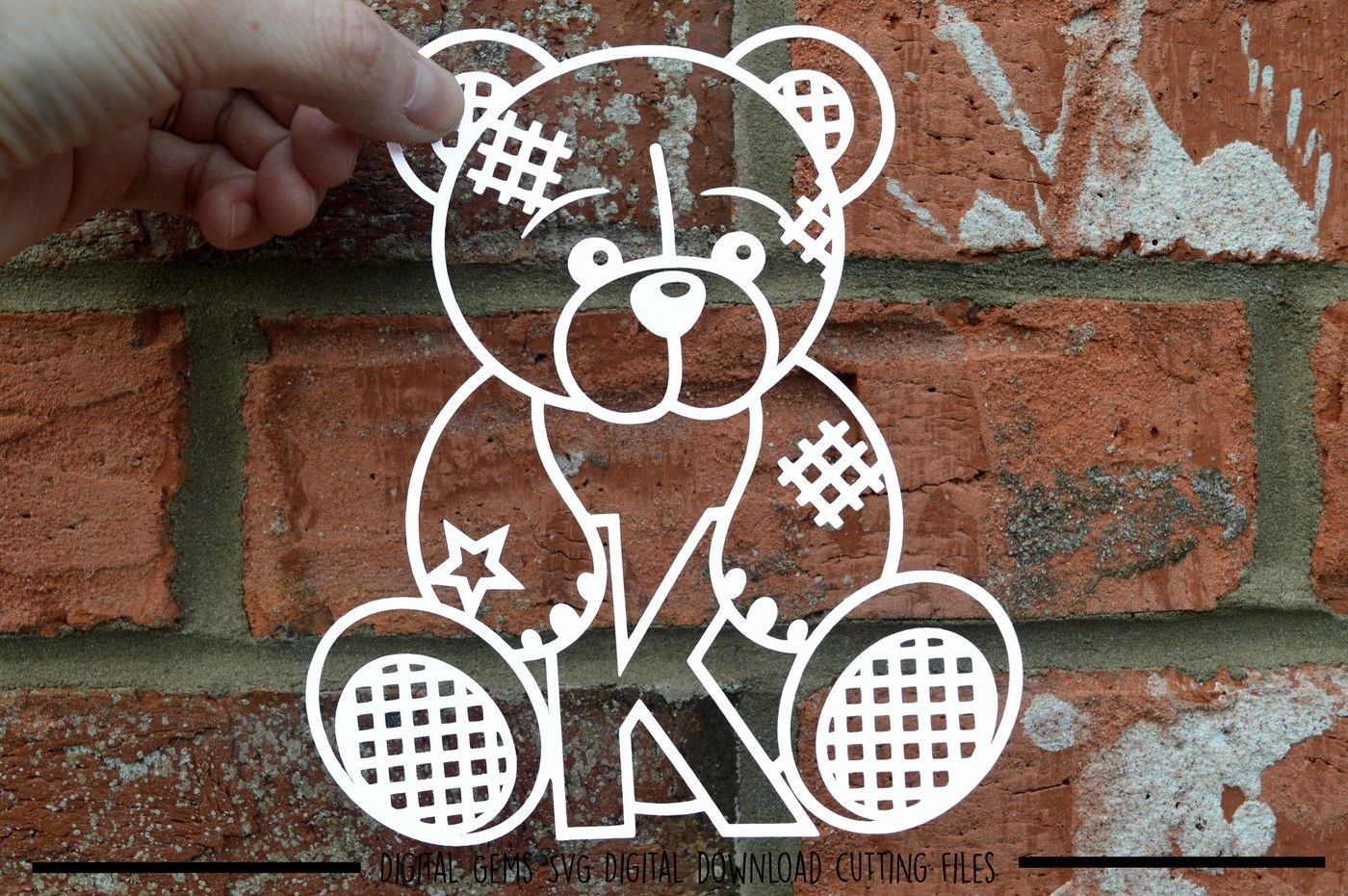 Teddy Bear Letter K Paper Cut Svg Dxf Eps Files By Digital
