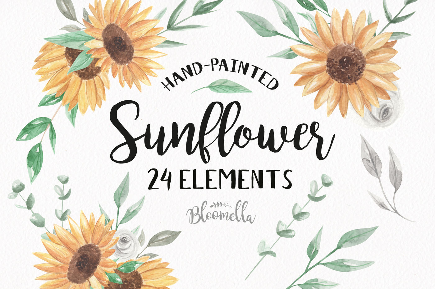 Watercolor Sunflower Clipart 24 Individual Elements Green ...