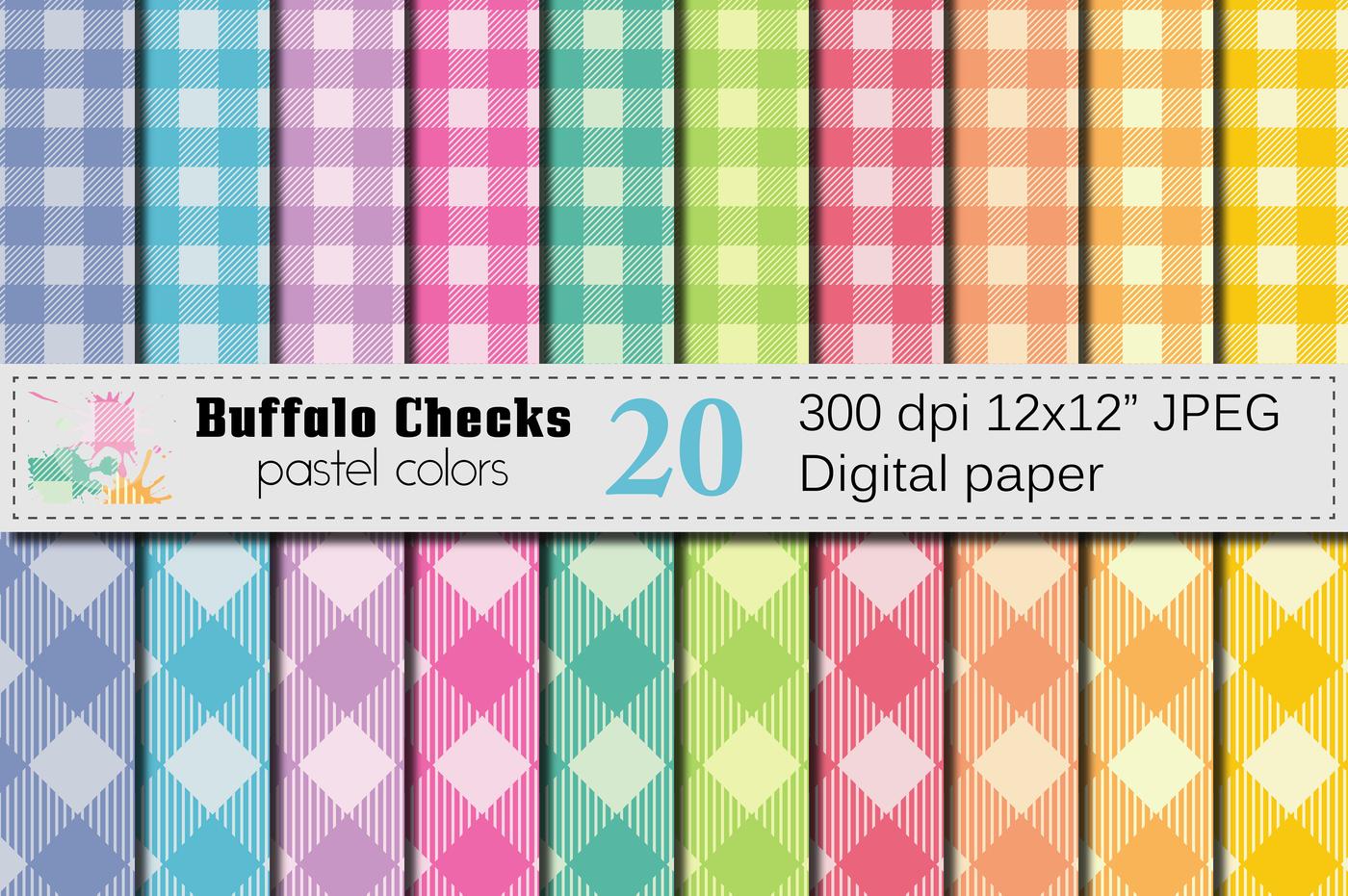Buffalo Plaid Pastel Colors Digital Paper Buffalo Checks Pattern