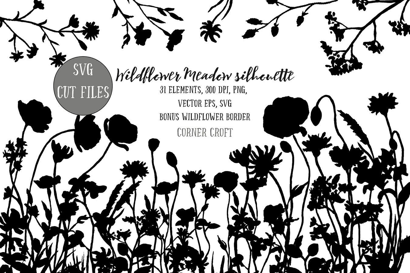 Wild Flower Meadow Png Svg Eps By Cornercroft Thehungryjpeg Com