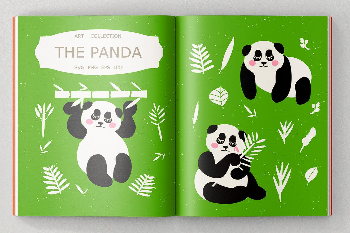 Panda Svg Cut Files Panda Clipart Illustrations By Sweet Panda