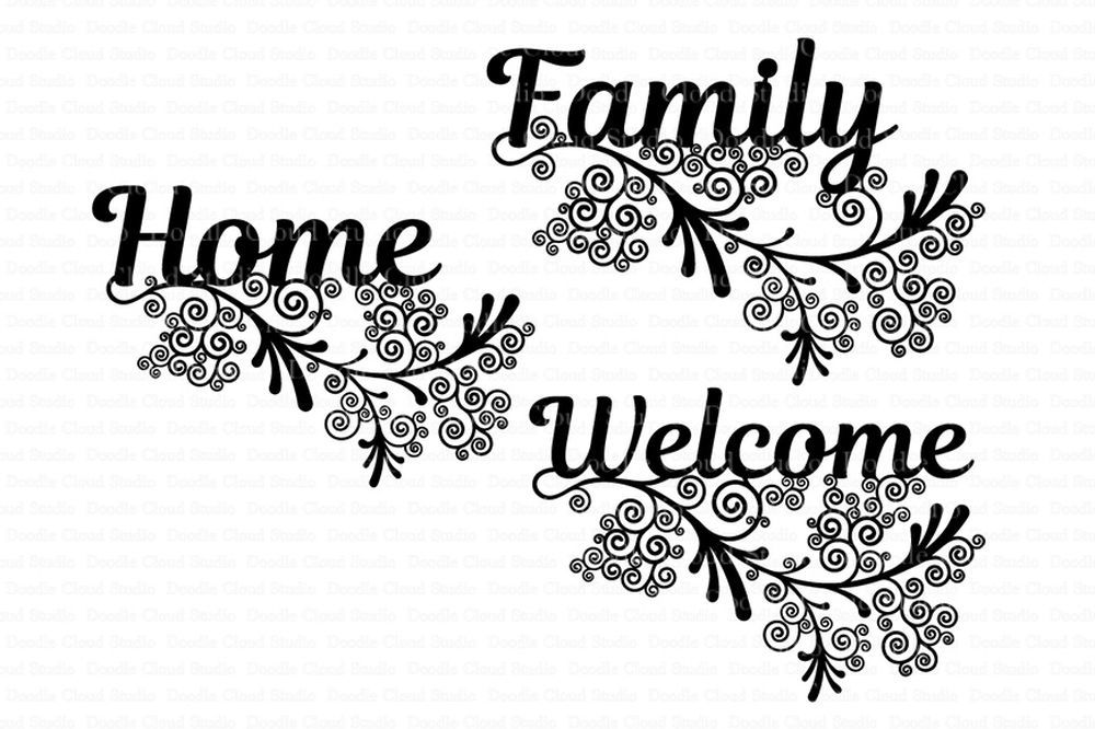 Floral Friezes Home Family Welcome Svg Files By Doodle Cloud
