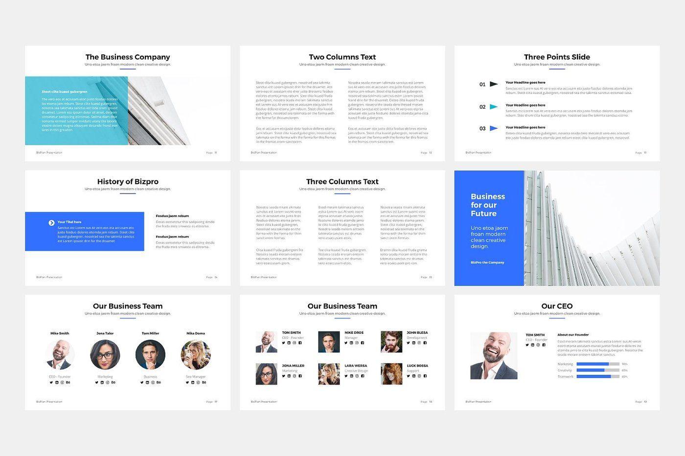 Bizpro Powerpoint Business Template By Pixasquare Thehungryjpeg Com