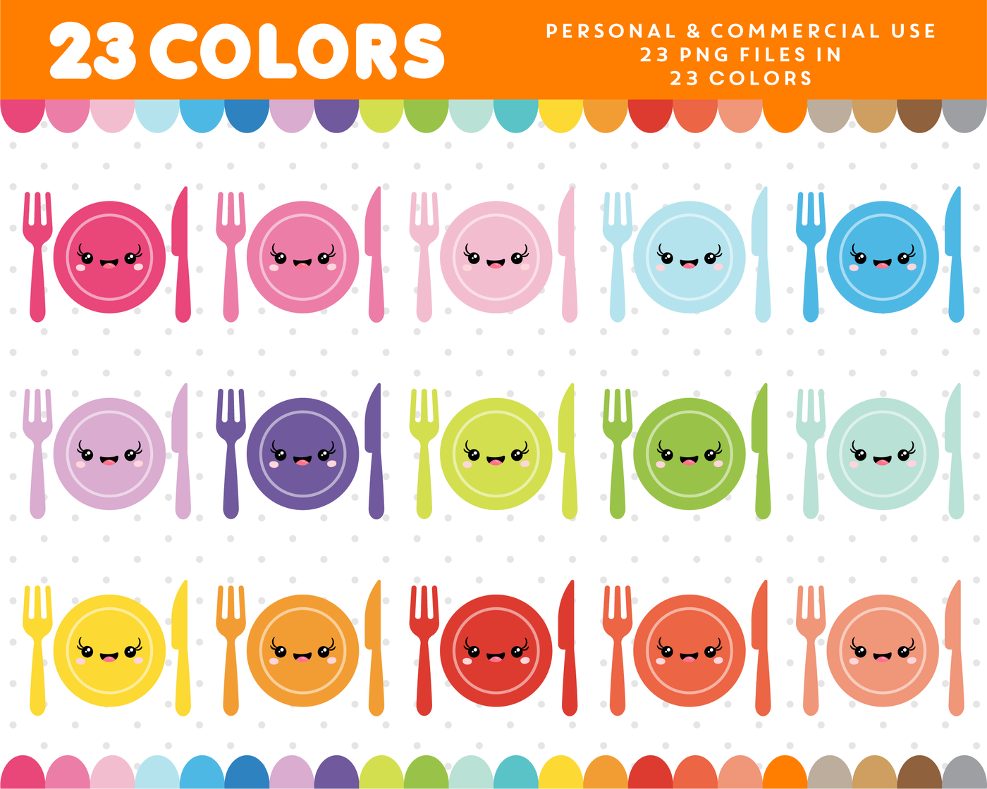 Dinner Kawaii Clipart In 23 Colors Cl 949 By Js Digital Paper