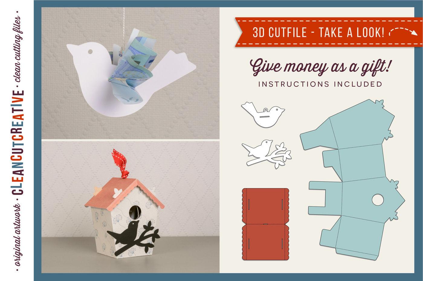 Give money - Cash gift - Money Bird & Birdhouse 3D craft
