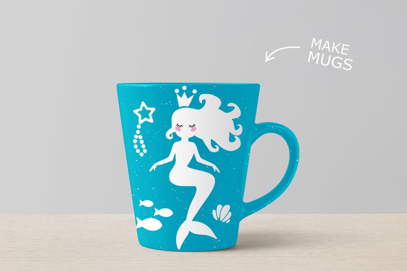 Mermaid Svg Cut Files Mermaid Clipart By Sweet Panda Store