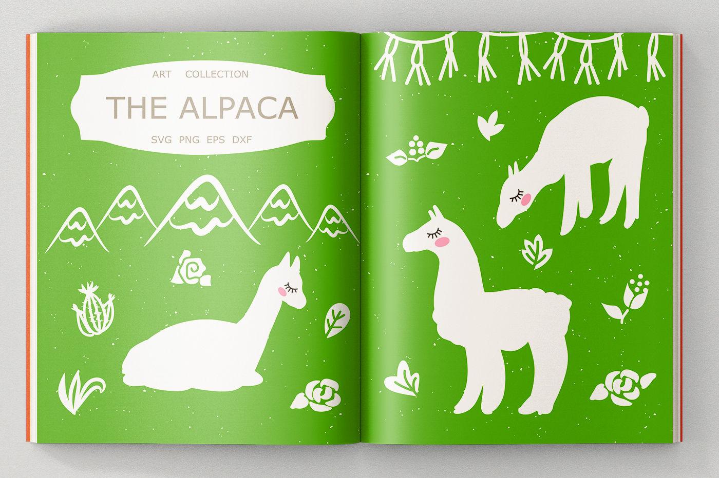 Alpaca Svg Cut Files Clipart Illustration By Sweet Panda Store