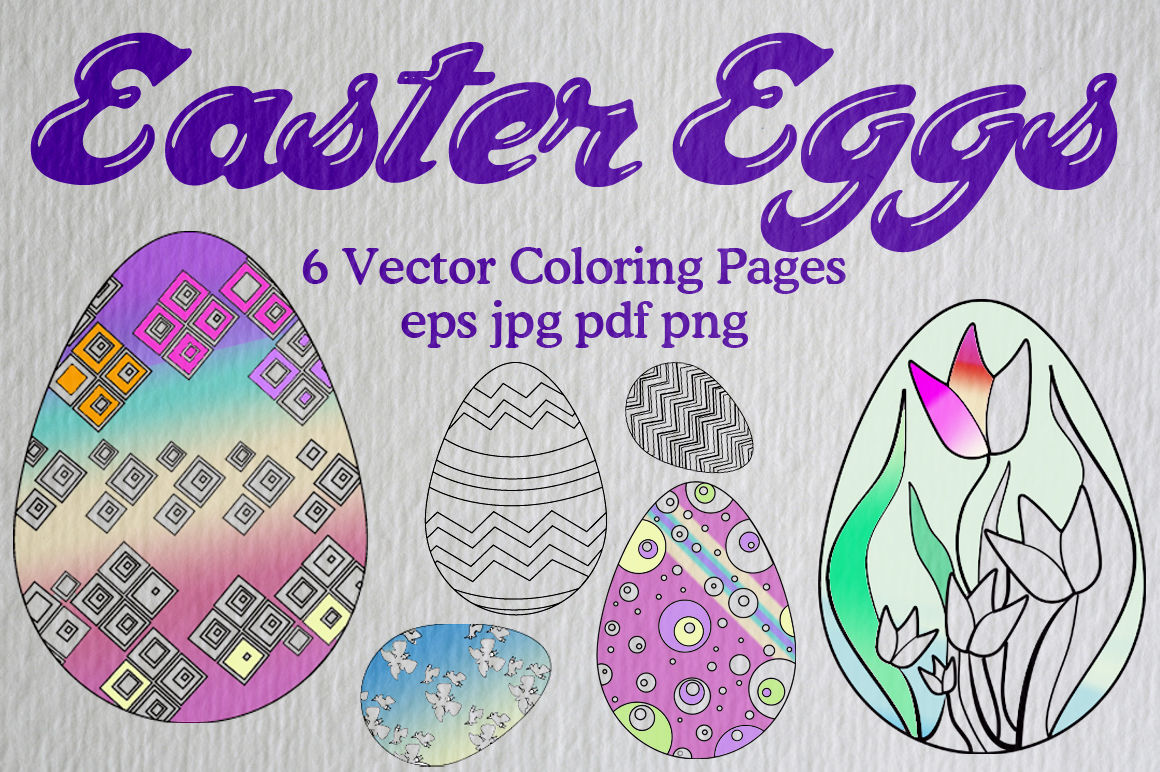 6 Easter Egg Vector Coloring Pages By Candita Clip Art And Designs