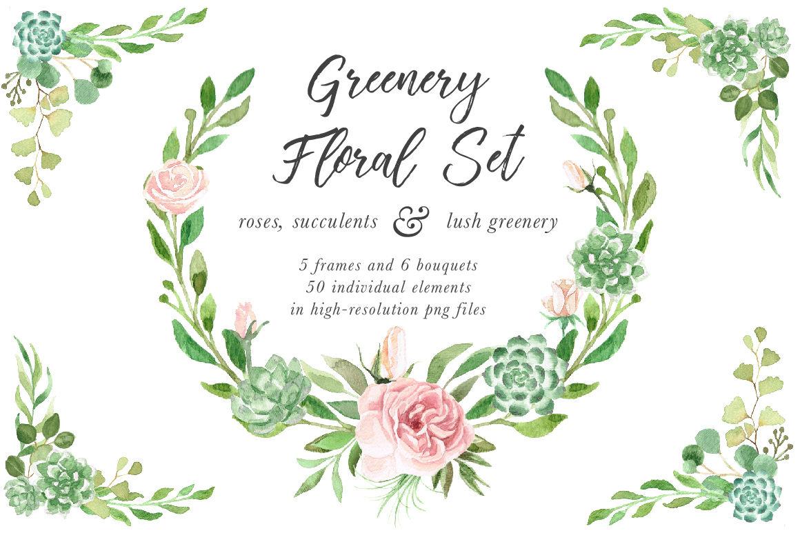Watercolor Greenery Floral Set By Birdiy Design Thehungryjpeg Com
