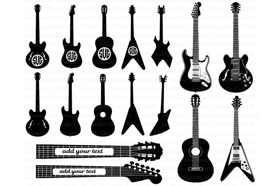 Guitar Svg Guitar Monogram Svg Files For Silhouette Cameo And