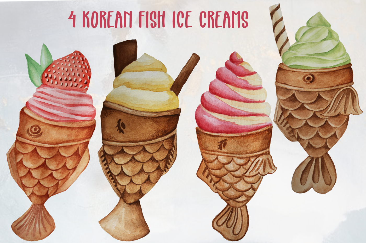 Korean Fish Ice Cream By Dream In Watercolor Thehungryjpeg Com