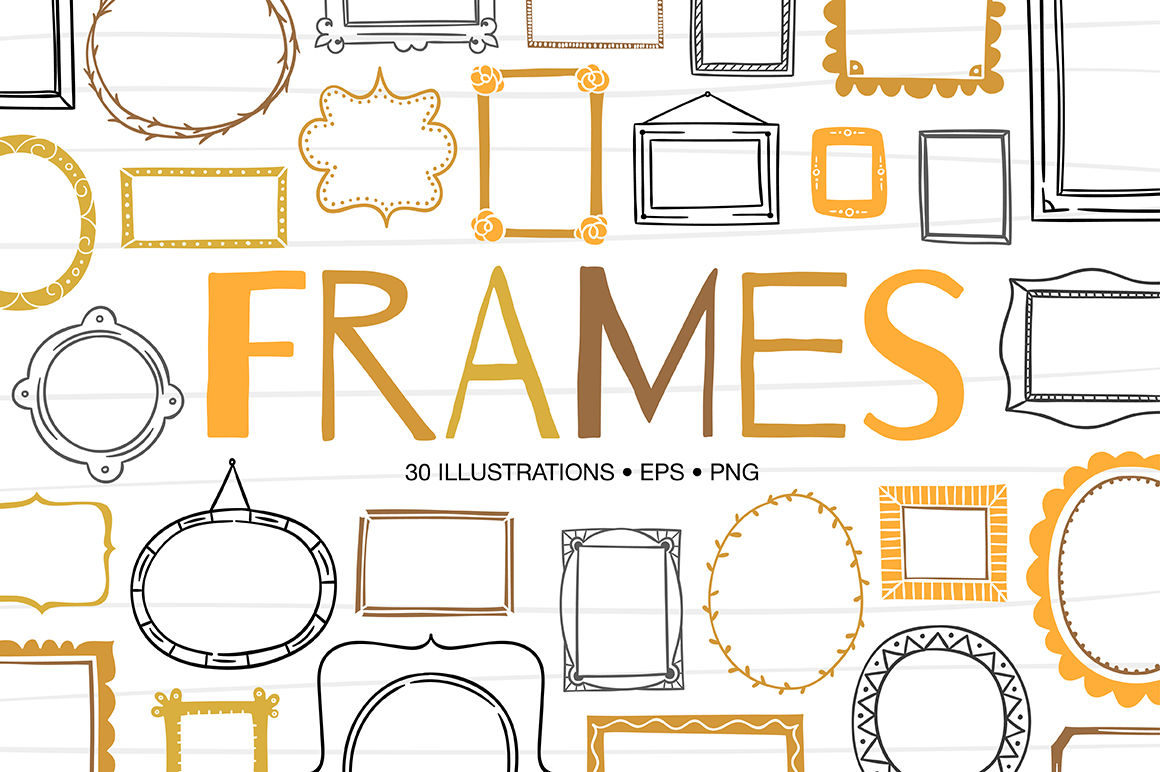 Hand Drawn Frames By Redchocolate Illustration Thehungryjpeg Com