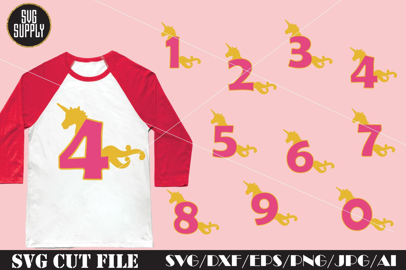Birthday Svg Unicorn Numbers Svg Cut File By Svgsupply