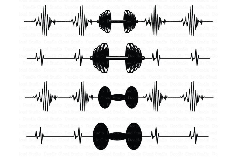 Heartbeat Weights Svg Crossfit Svg Files By Doodle Cloud Studio
