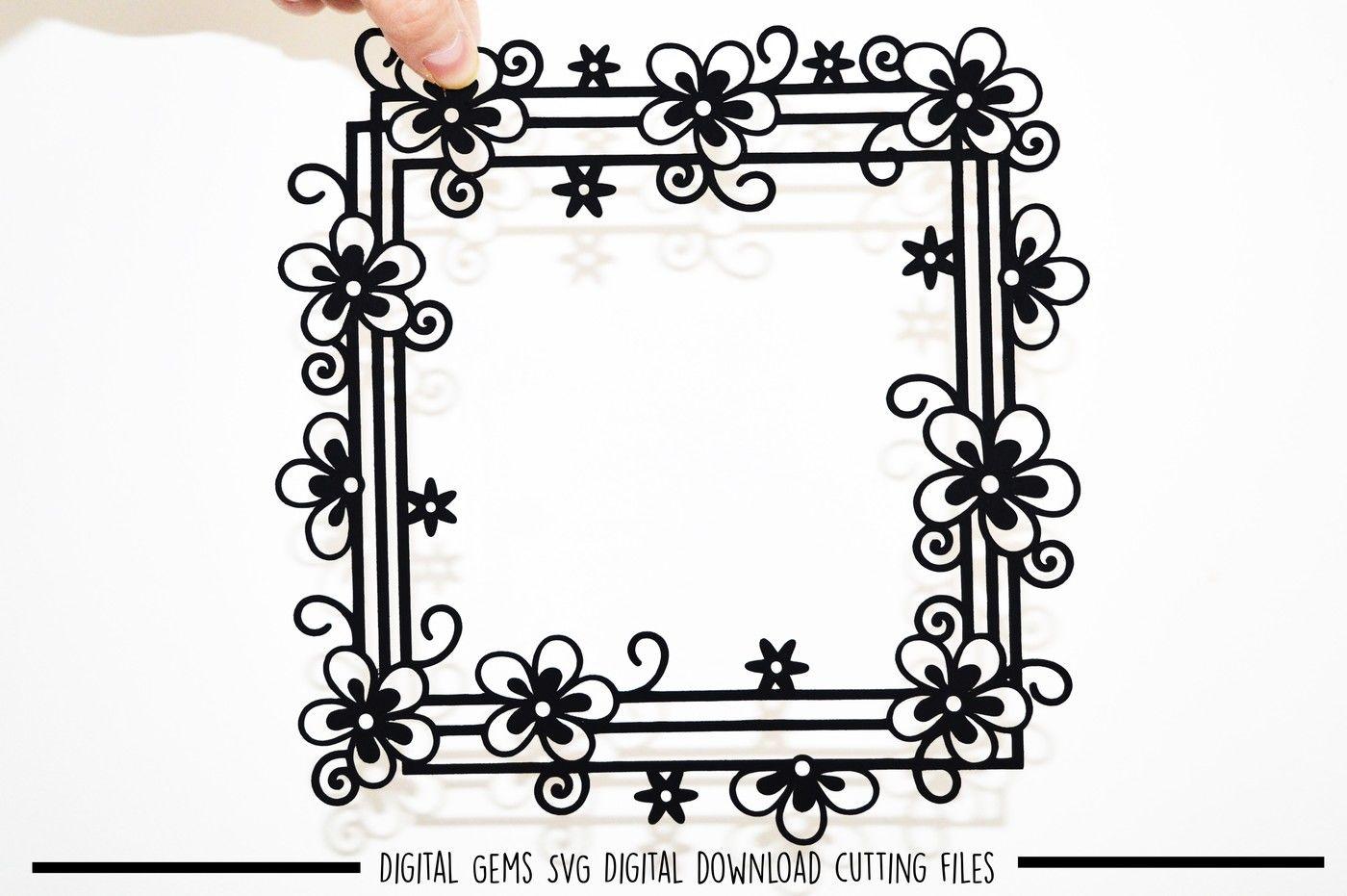 Flower Frame Paper Cut Svg Dxf Eps Files By Digital Gems
