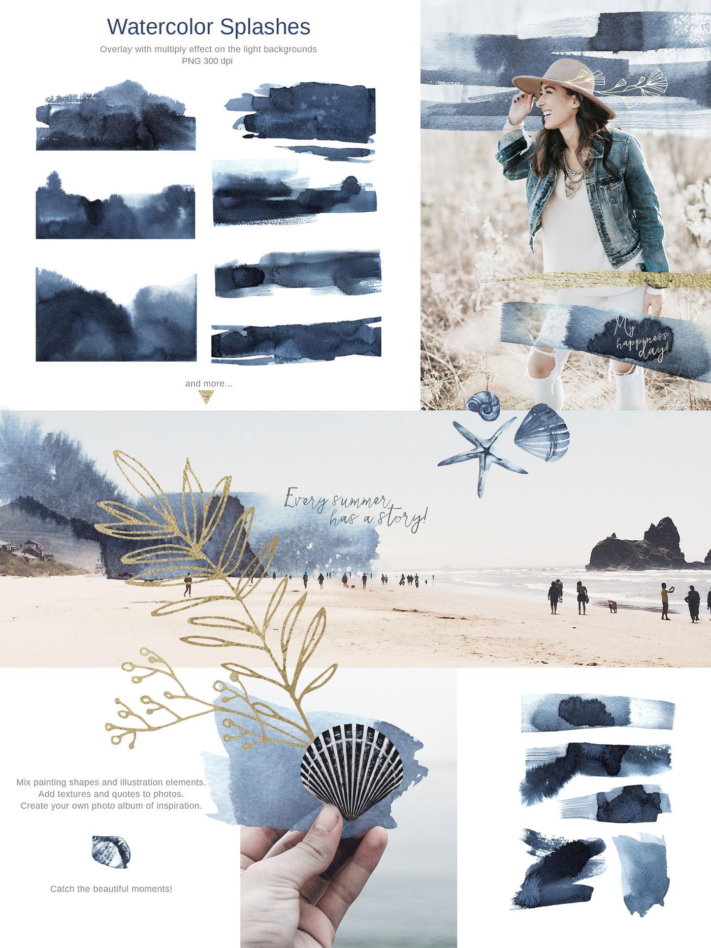 Sapphire Watercolor Collection By Anastezia Luneva